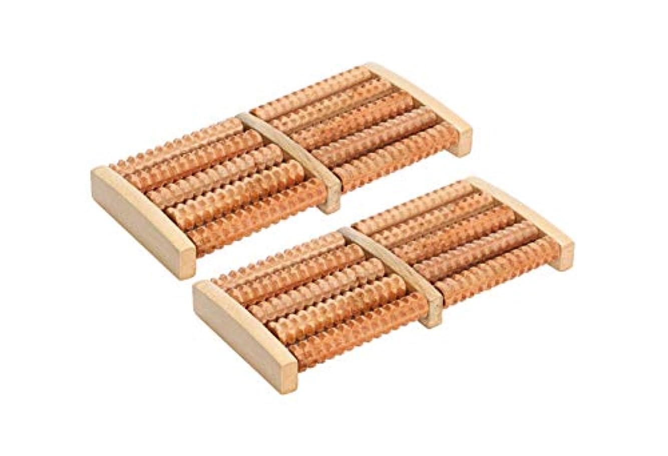 胚芽率直な自我ほうねん堂 足つぼ ローラー 木製 足裏 マッサージ ツボ押し 健康器具 2個 セット