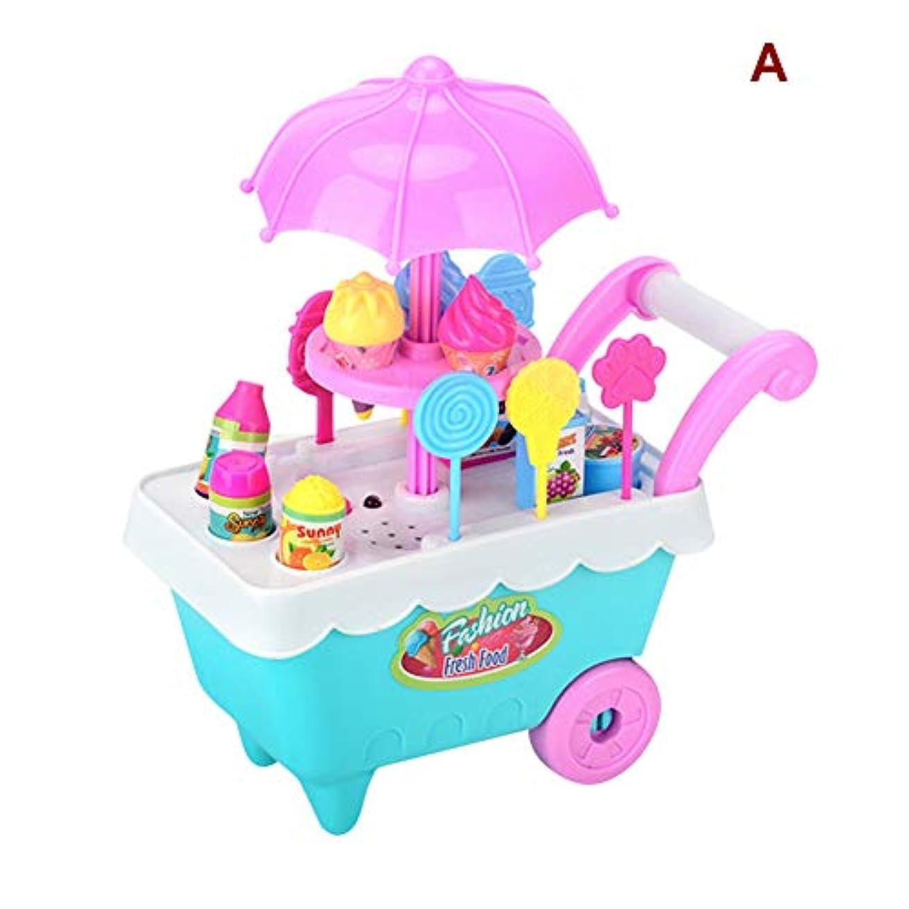 間ペナルティ風変わりなJanusSaja 19ピースセットアイスクリームトロリーセット食品玩具プレイ食品アイスクリームショッピングトロリーセット玩具音楽照明ふり食品プレイセットケーキセット玩具