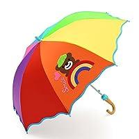 レインボーベアパターン子供の傘耐久性のある軽量安全日焼け止め防風防風ノンスリップハンドル傘