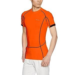 MUB13-ORG_XL (テスラ) TESLA 半袖 ラウンドネック スポーツシャツ [UVカット・吸汗速乾] コンプレッションウェア パワーストレッチ アンダーウェア