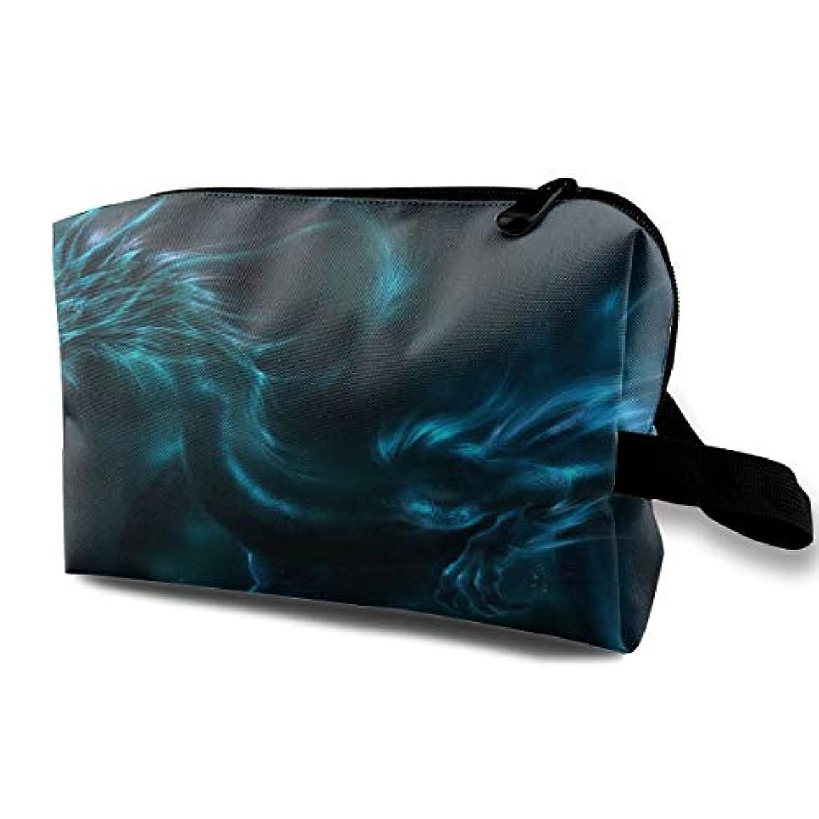 に話す活発モデレータCool Blue Dragon 収納ポーチ 化粧ポーチ 大容量 軽量 耐久性 ハンドル付持ち運び便利。入れ 自宅?出張?旅行?アウトドア撮影などに対応。メンズ レディース トラベルグッズ