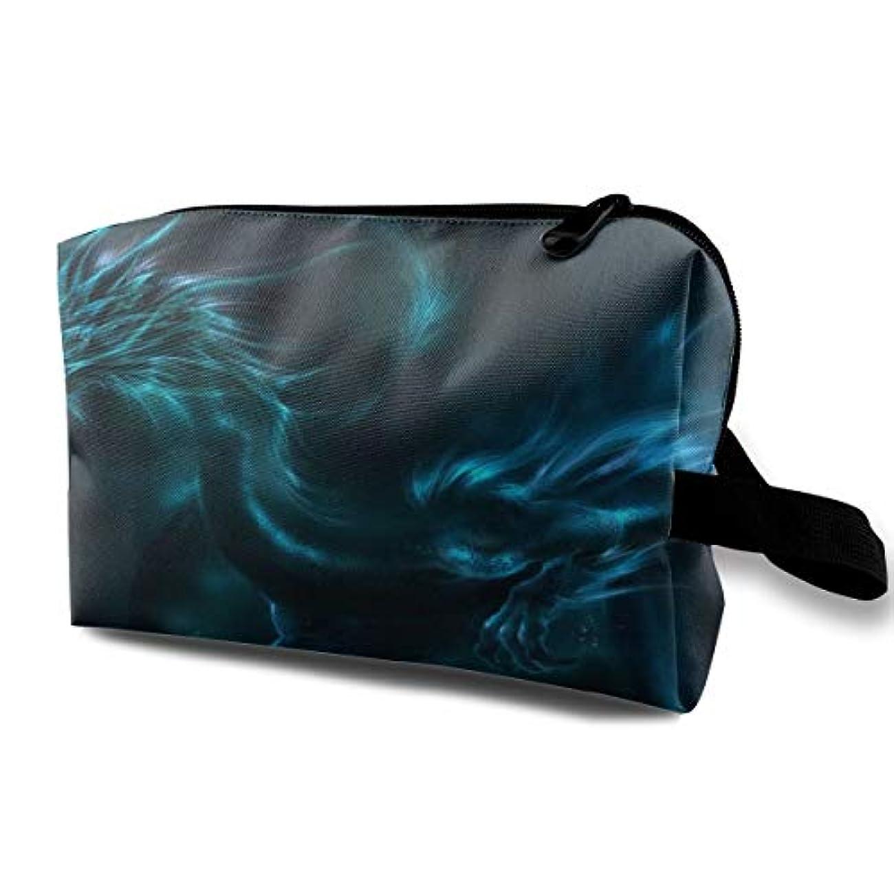 海軍変換フロンティアCool Blue Dragon 収納ポーチ 化粧ポーチ 大容量 軽量 耐久性 ハンドル付持ち運び便利。入れ 自宅?出張?旅行?アウトドア撮影などに対応。メンズ レディース トラベルグッズ