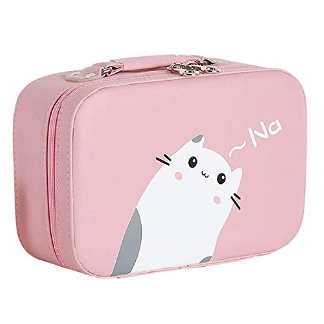 排他的億シャイニング[テンカ]メイクボックス コスメボックス 大容量 鏡付き おしゃれ かわいい 化粧品収納ボックス ブランド 人気 プロ 化粧ボックス 小物 猫柄 機能的 メイクポーチ 旅行 収納ケース ピンク