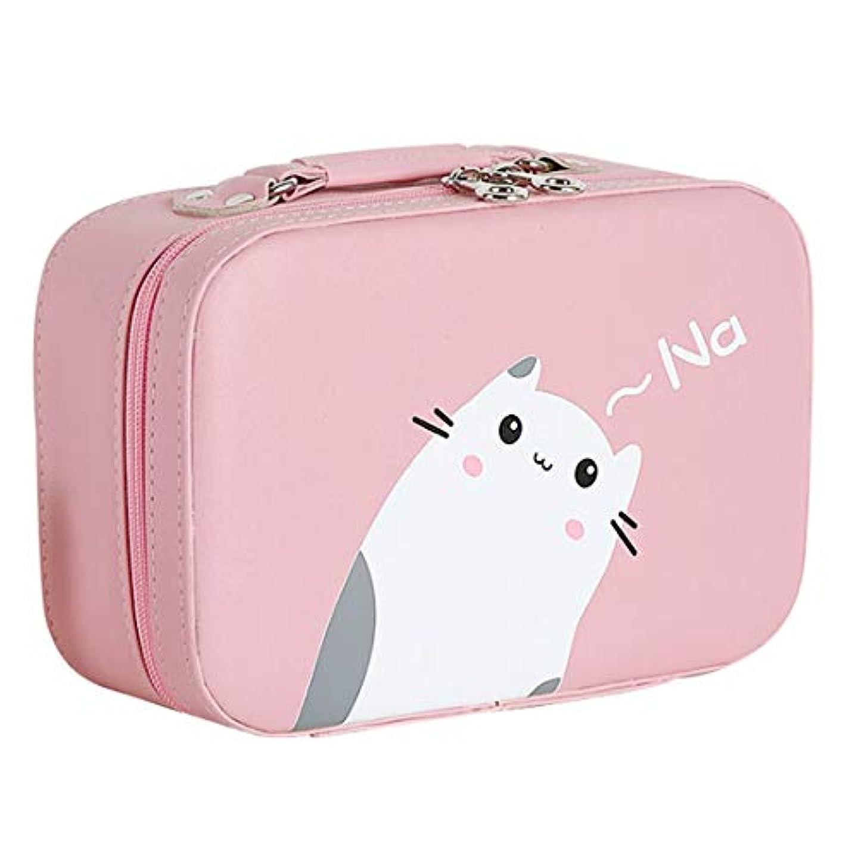 ダンス欠如背の高い[テンカ]メイクボックス コスメボックス 大容量 鏡付き おしゃれ かわいい 化粧品収納ボックス ブランド 人気 プロ 化粧ボックス 小物 猫柄 機能的 メイクポーチ 旅行 収納ケース ピンク
