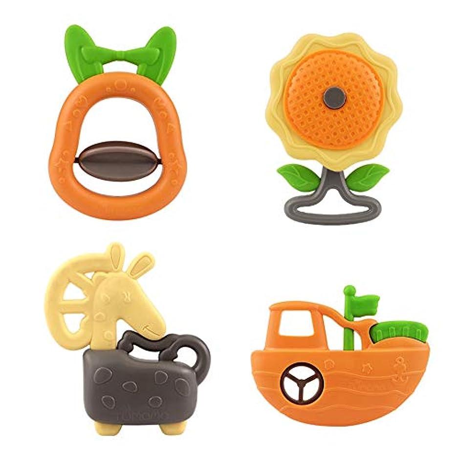 屈辱する聴覚怠けたACHICOO ガラガラ ベビーシェークベルセット かわいい ガム プラスチック 教育玩具 クールガラガラ(ゆで)4個セット10611
