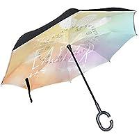逆さ傘 逆折り式傘 車用 日傘 長傘 イースター カラフル UVカット 手離れC型手元 撥水加工 晴雨兼用 耐風 124センチ