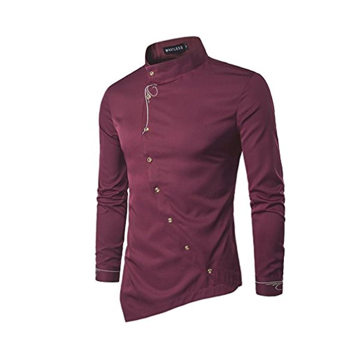 スタンド手伝うホイップHonghu メンズ シャツ 長袖 斜めボタン 不規則 多色  ワインレッド XL 1PC