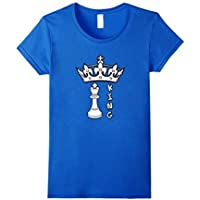 Womens King Chess Piece T-Shirt For Chessboard Game Grandmasters Large Royal Blue [並行輸入品]