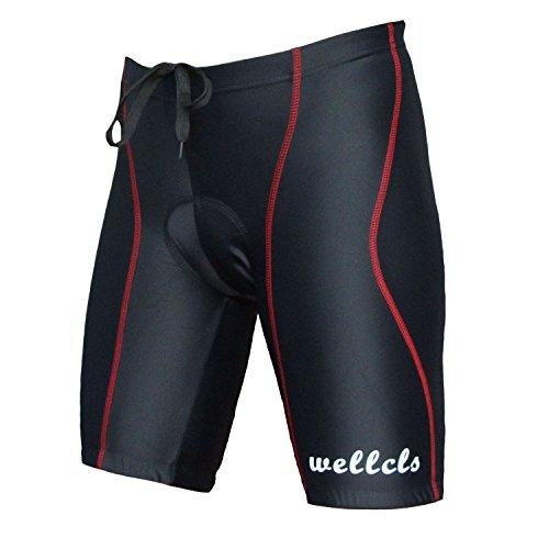 Wellcls(ウェルクルズ) 3Dゲルパッド付 レーサーパンツ ハーフ ひざ上丈 自転車 サイクリング 黒×赤 M(74-80cm)