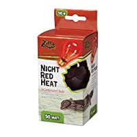 Zilla Reptile Terrarium Heat Lamps Incandescent Bulb, Night Red, 50W by Zilla