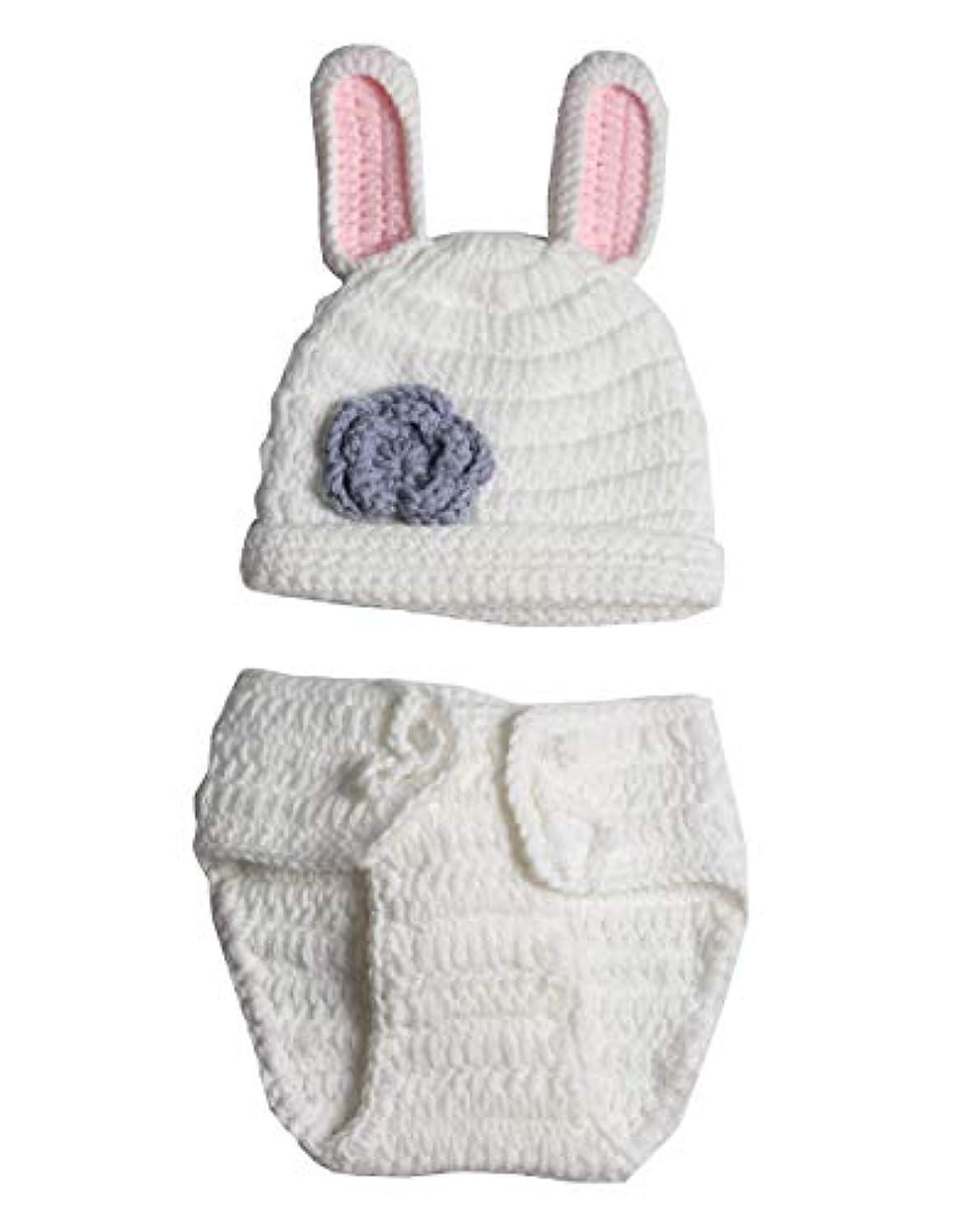 大工けん引メーター(White Rabbit) - White Rabbit, Newborn Baby Girl Boy Crochet Knit Costume Photo Photography Prop Hats Outfits