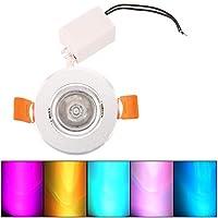 DeeploveUU 3W RGB LEDの引込められた天井灯のスポットライトダウンライトランプ紫外線およびIRの放射は取付けおよび操作すること容易なしません