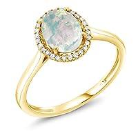 Gem Stone King 1.05カラット シミュレイテッド ホワイトオパール 天然 ダイヤモンド 10金 イエローゴールド(K10) 指輪 リング