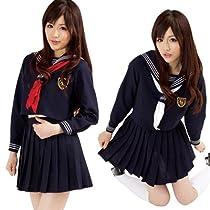 【コスプレ衣装】秋葉女学院ダブルリボン2 スカーフ2枚付き(赤・白) 長袖セーラー服
