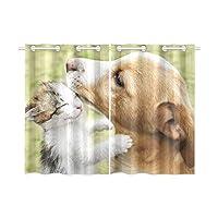 CWSGH ドレープカーテン 猫や犬 遮光 防寒 断熱 防音 Uvカット 洗える 幅65cm×丈100cm 2枚組 おしゃれ 部屋 寝室 居間 子供室用 装飾