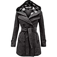 XINHEO Women's Double Breasted Mid-Long Strappy Hooded Pocket Solid Woolen Jacket
