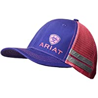 ARIAT Women's Offset Logo Stripe Mesh Snap Cap