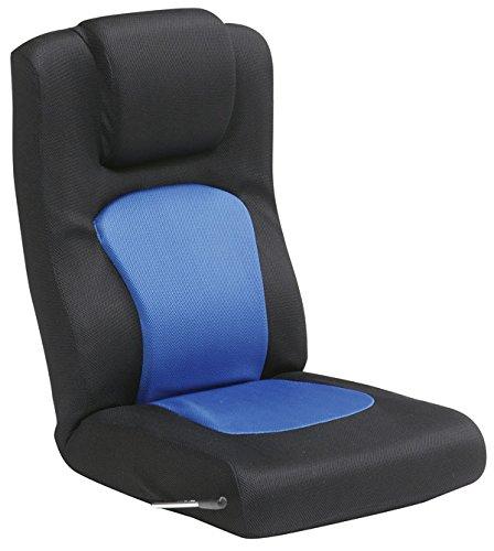 家具の赤や(AKAYA) ガスレバー式 無段階リクライニング座椅子 腰痛解消ランバーサポート (ブラック&ブルー)