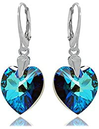 Royal Crystals Sterling Silver Drop and Dangle Luxe Blue Love Heart leverback Earrings Made with Swarovski Crystals