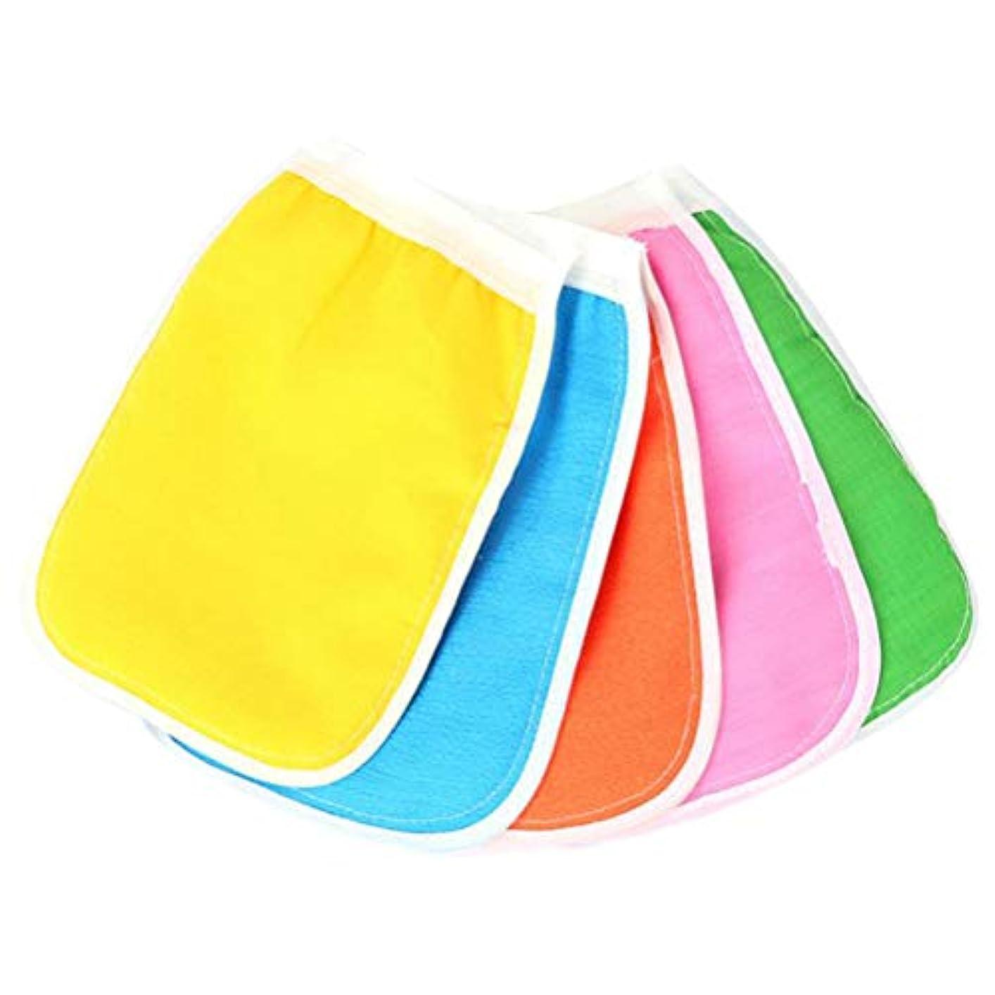 ビーム拡声器汚染されたHEALIFTY ボディスクラブミトン手袋入浴シャワースパ用クレンジングツール(混色)のための5本の剥離手袋