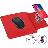 Qi ワイヤレス 充電器 + マウスパッド の合体 ワイヤレスチャージャー 置くだけ充電 iPhone X/iPhone 8 / iPhone 8 Plus, Galaxy Note 8 /S8/S8 Plus/S7/S7 Edge/Note 5/S6 Edge 他のQi対応 全機種対応 便利なマウスパッド一体型 (赤)