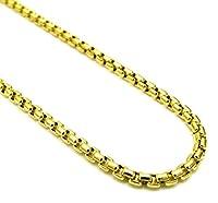 Pori Jewelers 10Kイエローゴールド 厚さ3.5mm ラウンドボックスチェーンネックレス - 複数の長さあり - 10カラットゴールド