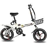 男性と女性の折りたたみ自転車 アウトドアレジャー自転車 ロードバイク/学生用自転車 16/20インチの男性と女性のためのシフトディスクブレーキ (Color : 白, Size : 16inch)