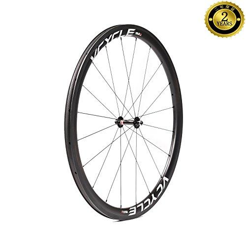 VCYCLE HALO 40mm カーボンファイバーレーシングロードバイクホイールセット700C自転車用ホイール25mm幅クリンチャーウルトラライトシマノ8/9/10/11スピード (前輪)