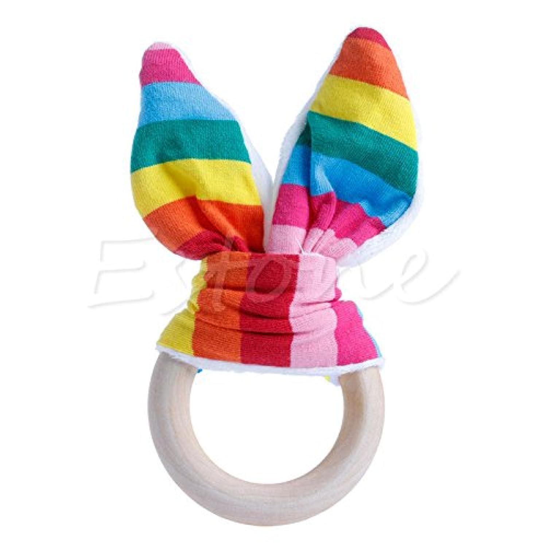 レインボーストライプ安全木製Natural Baby Teething Ring ChewieキュートTeether Bunny Sensory Toy