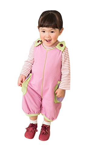 1b9c1d3266842 yuga☆ 箱入り 「バルーン・ロンパース 70cm - 80cm +ボーダー・Tシャツ 80cm 2点セット いちご染め×ピンク」  オーガニックコットン100% 天然染め ベビー.