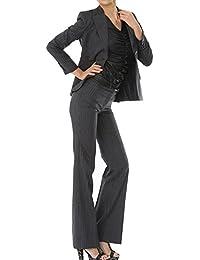 パンツスーツ リクルートスーツ レディススーツ ブラックストライプ 就活 5号 上下別サイズ対応スーツ
