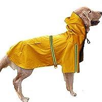 犬 レインコート 帽子付き 防水 ペット服 かわいい 梅雨対策 雨具 雨の日 反射テープ付き 犬用ポンチョ マッジクテープ 通気性 ペット用品 防水服 小犬・中犬・大犬に適用 二足服 着せやすい ドッグウェア ポケット 大人気つなぎレインコート 雨の日のお散歩に (S, イエロー)