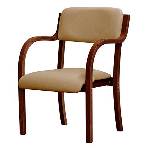 ottostyle.jp ダイニングチェア 介護椅子 肘付き スタッキング可能 (ブラウン×ベージュ)