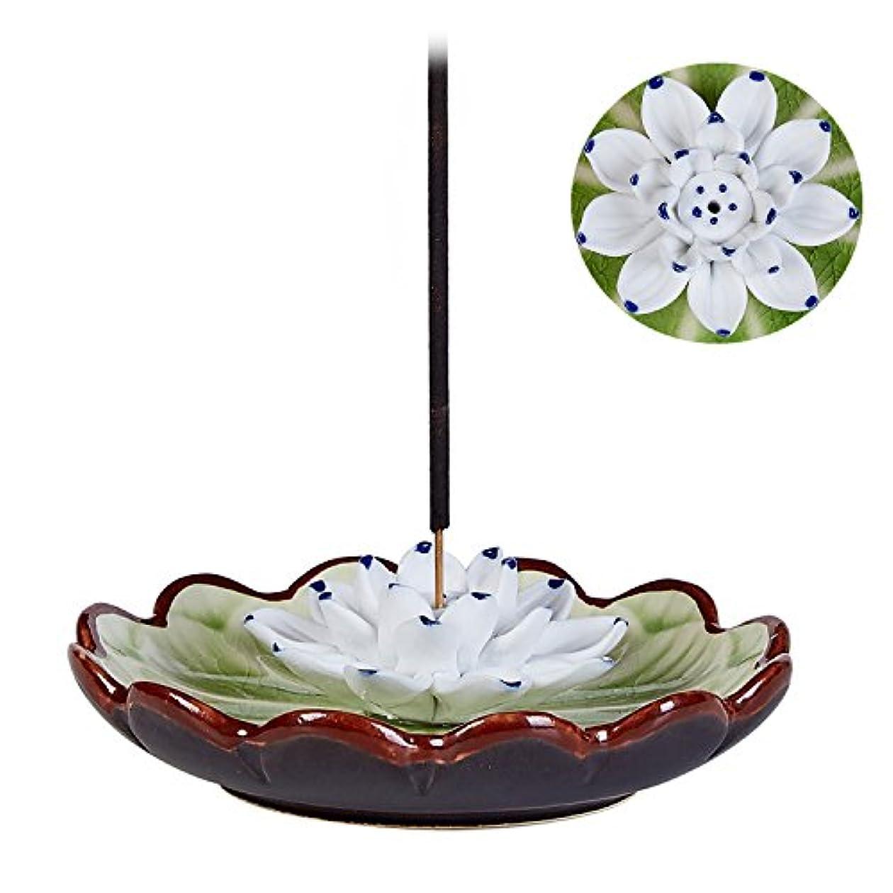 極めて重要な我慢する逸脱Uoonお香スティックバーナーホルダー – ハンドメイドセラミックLotus Flower Incense Burner Bowl Ashキャッチャートレイプレート グリーン UOON-LotusF018