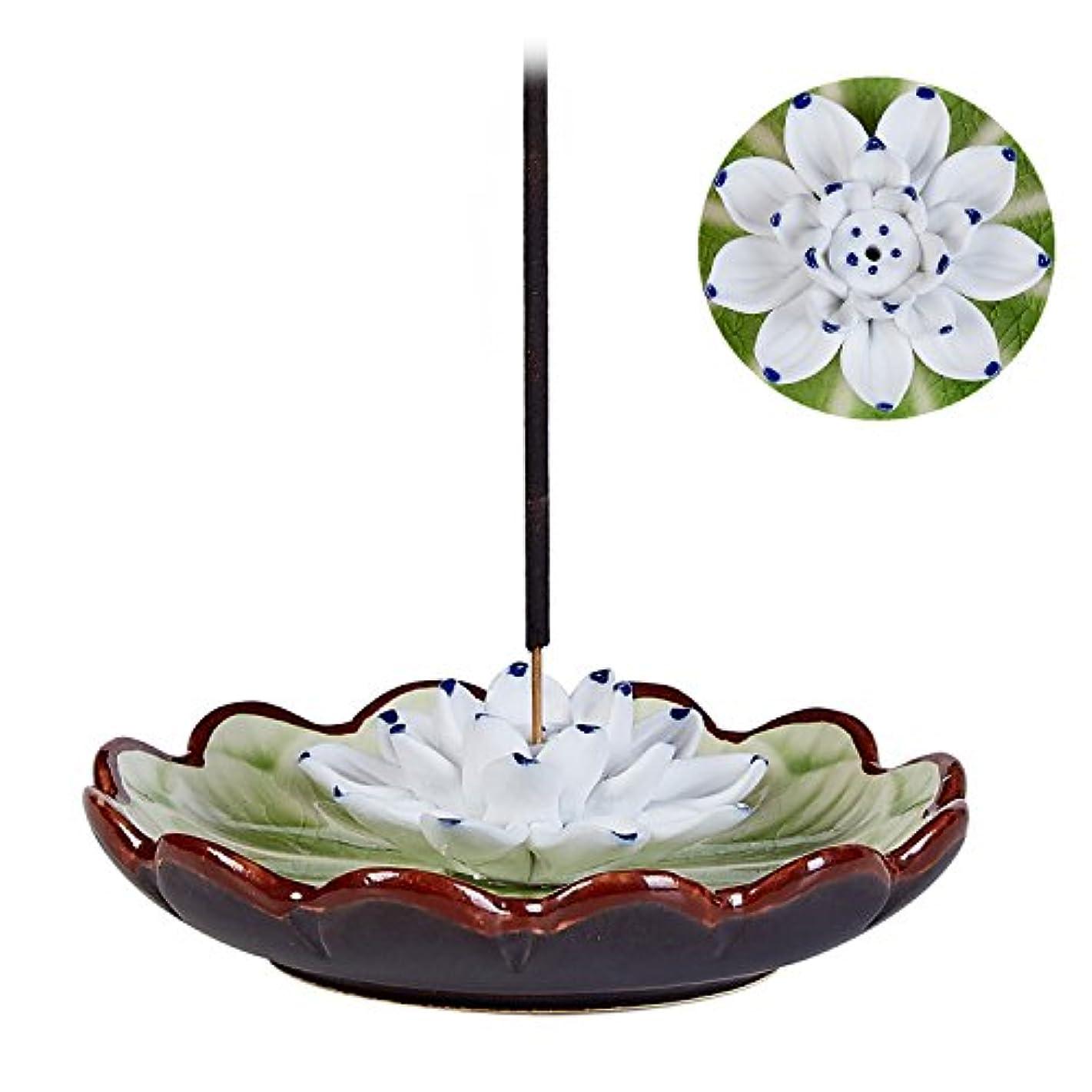 お誕生日コンピューター繁栄Uoonお香スティックバーナーホルダー – ハンドメイドセラミックLotus Flower Incense Burner Bowl Ashキャッチャートレイプレート グリーン UOON-LotusF018