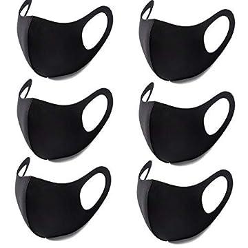 Hombasis マスク 黒 6枚入 綿 ファッションスタイル 20回繰り返して使用可 水洗い可 花粉対策 秋冬 メンズ レディース