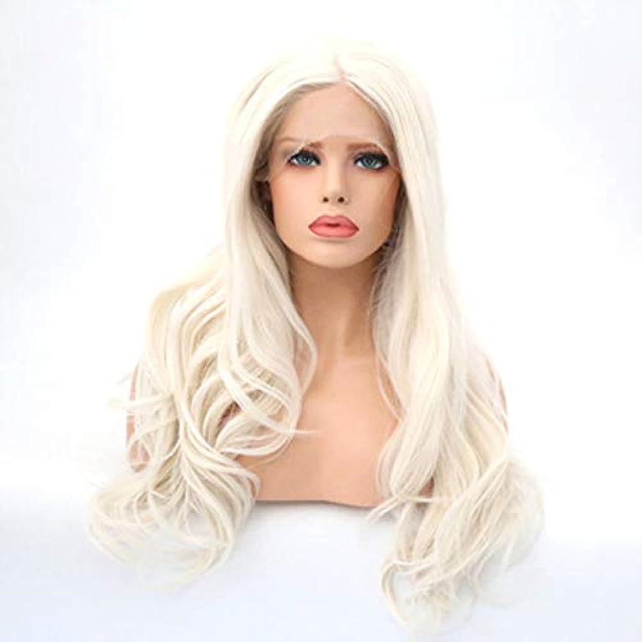 風刺素晴らしさ無駄にヘアピース 手仕事ウィッグ女性用フードフロントレース高温シルク化学繊維かつらロング巻き毛