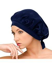 AQshop ナイトキャップ シルク100% ロングヘア対応 サイズ調節 紐付き つや髪 保湿 bd (ネイビー)