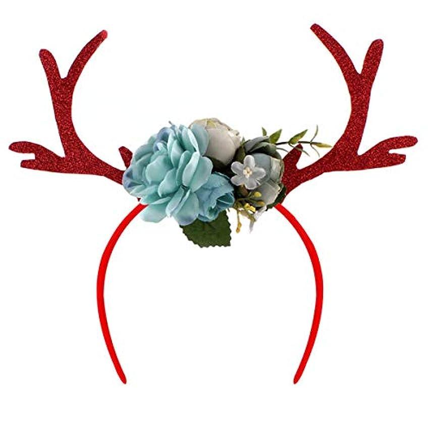 コンプライアンスポスター愚かなLEDMOMO カチューシャ 鹿の角 カチューシャ フラワー 髪飾り ヘアフープ 女性 女の子 髪留め クリスマス パーティー コスチューム ヘアアクセサリー コスプレ 仮装(青)