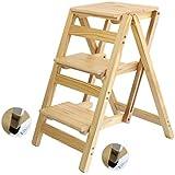 GLJJQMY Household Wooden Ladder Folding Ladder Stool Stool Wood Flower Shelf Multi-Function Indoor Ascending Ladder Stool (Color : 4#)