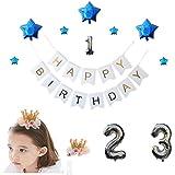 [スリール] 誕生日 写真 撮影 飾り付け1 2 3歳 豪華 光沢 風船 装飾 セット【クラウン 付き】 (ブルー)