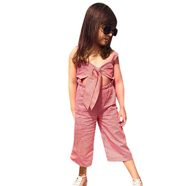 [ポクトロン] ベビー こども 赤ちゃん ノースリーブ おしゃれ 旅行 スリング 格子 弓結び目 お腹が出る ジャンプスーツ ロンパース