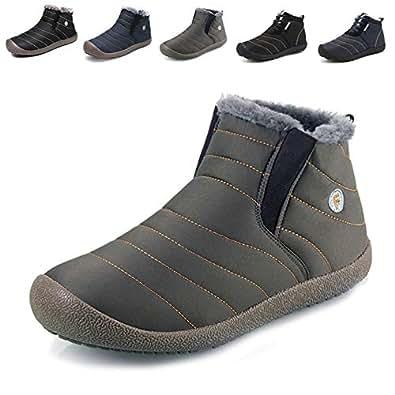 スノーシューズ レディース メンズ 防水 防寒 防滑の綿靴 雪靴 通学 通勤用(グレー 23)