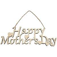 ROSENICE 幸せな母の日木製の掛け金プラークサインデコレーショングリーティングタグ