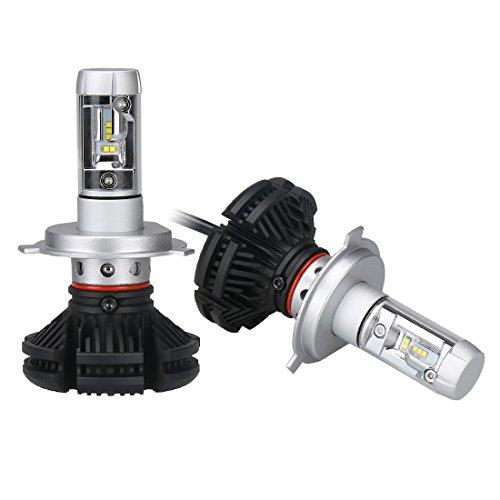 「SUPAREE」 新型 変色可能 車検対応LEDヘッドライト H4 オールインワンタイプ ファンレス フィリップスPHILIPS Lumileds ZES2代目LEDチップ 10連 50W 6500K 6000lm 2個セット 3000K 8000K変色フィルム付き led h4 x3