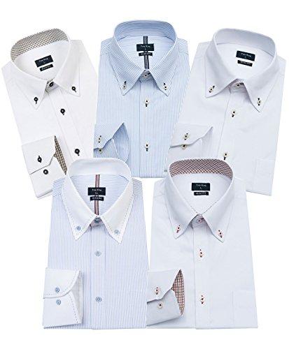 ワイシャツ メンズ 長袖 ボタンダウン 細身 ビジネス シャツ 5枚組入り 多色選択(M,Colour C-5)