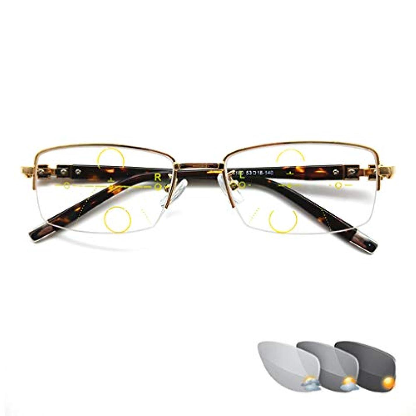 ステレオミリメートルあごひげ老眼鏡 老眼鏡、フォトクロミックリーディンググラス、プログレッシブマルチフォーカスリーディンググラス、青色光遮断コンピューターリーディンググラス、レディメタルハーフリム遠近両用メガネ