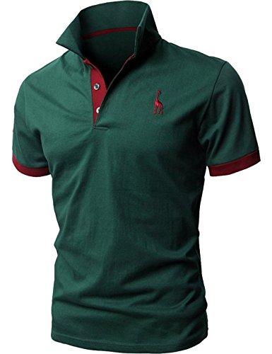 グラストア(Glestore)メンズ 半袖 ポロシャツ お洒落な重ね着スタイル チェックポロシャツ カジュアル シンプル 無地 スキニー ファッション カッコイイ スポーツウェア ゴルフウェア 快適 多色選択 グリーン XL