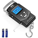 Dr.meter Backlit LCD Display 110lb/50kg Electronic Balance Digital Fishing Postal Hanging Hook Scale with Measuring Tape, 2 A