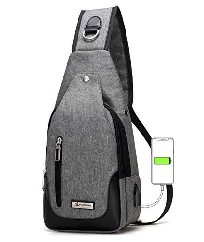 ワンショルダーバッグ メンズ ボディ斜め掛け 胸バッグ USBポートイヤホン穴付き おしゃれ レディース大容量 軽量 防水 人気 肩掛けバック カジュアル グレー